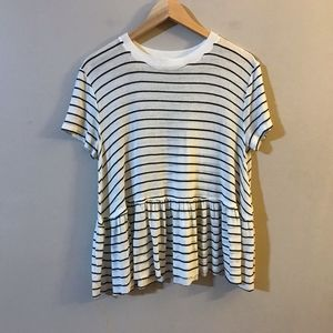 Abound White Black Striped Peplum Tee XS